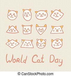World Cat Day Card on textured background.