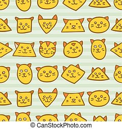 Seamless pattern with orange cat faces on striped blue background.