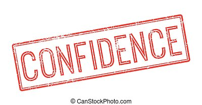 Confidence red rubber stamp on white Print, impress,...