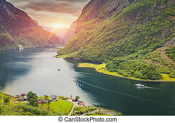 Beautiful scene of Norway fjord - Beautiful scene of...
