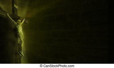 Jesus on cross, light noise