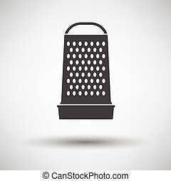 Kitchen grater icon on gray background with round shadow...
