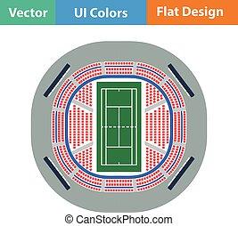 Tennis stadium aerial view icon. Flat design. Vector...