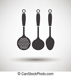 Ladle set icon on gray background with round shadow. Vector...