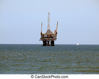 Oil Rig and Sail Boat