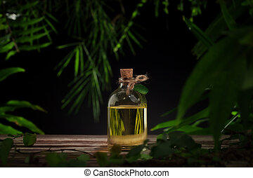 massage oil - close up view of nice small bottle with...