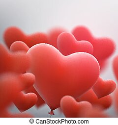 Red heart balloons flying bunch. EPS 10