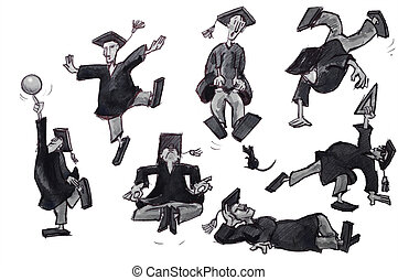 graduate illustration set - college grad collection over...