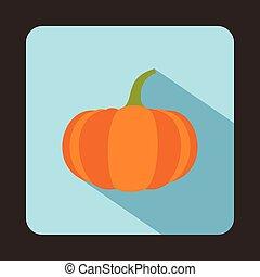 Ripe pumpkin icon in flat style