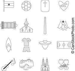 Argentina outline icons isolated on white background