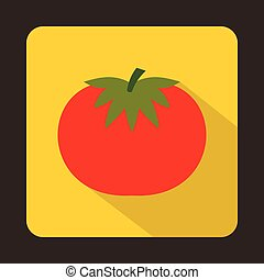 Red tomato icon, flat style - Red tomato icon in flat style...