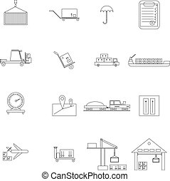 Warehouse management icons set in outline style isolated on...