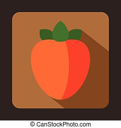 Ripe persimmon icon in flat style on a brown background