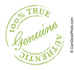 Green Genuine stamp Genuine product symbol, disstressed...