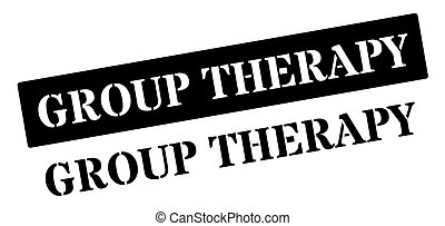 Group Therapy black rubber stamp on white Print, impress,...