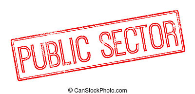 Public Sector red rubber stamp on white Print, impress,...