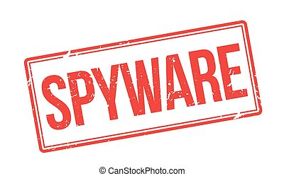 Spyware red rubber stamp on white. Print, impress,...