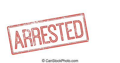 Arrested red rubber stamp on white Print, impress, overprint...