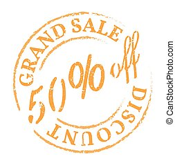 Green 50% off discount stamp