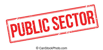 Public Sector red rubber stamp on white. Print, impress,...