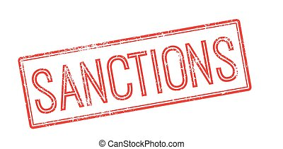 Sanctions red rubber stamp on white Print, impress,...