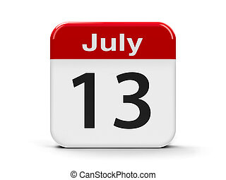13th July - Calendar web button - The Thirteenth of July -...