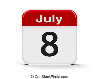 8th July - Calendar web button - The Eighth of July,...