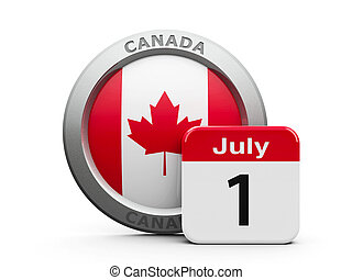 Canada Day - Emblem of Canada with calendar button - The...