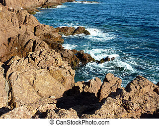 Esterel massif and waves, south of France