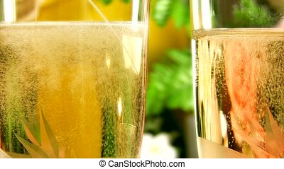 Champagne - Two glasses with champagne close-up