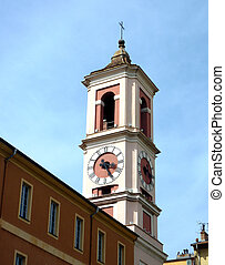 Bell tower at Nice, France - Colored bell tower with clock...