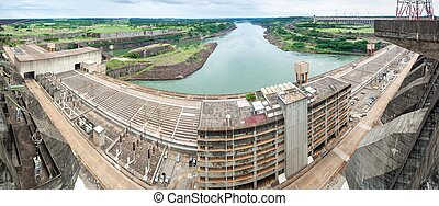 Itaipu dam on river Parana - Panorama of Itaipu dam on river...