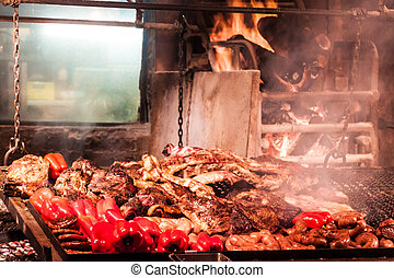 Barbecue in Mercado del Puerto in Montevideo - Barbecue in...