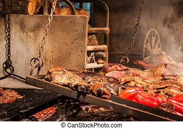 Barbecue in Mercado del Puerto in Montevideo - Barbecue in...
