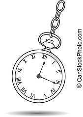 Vector. Swinging old style pocket watches with roman numbers. Isolated illustration