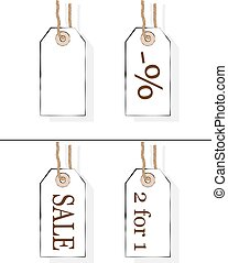 Seller's carton tags. Price labels. Discount, 2 for 1, -percent. Vector isolated illustration of price tags for sales and special offers.