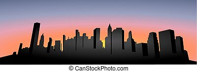 Vector. Cityscape silhouette. Sunset. Dark city silhouette illustration. New York city silhouette