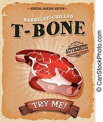 Grunge And Vintage T-Bone Steak Poster - Illustration of a...