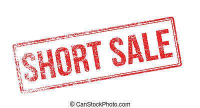 Short sale red rubber stamp on white. Print, impress,...