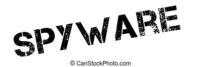 Spyware black rubber stamp on white Print, impress,...