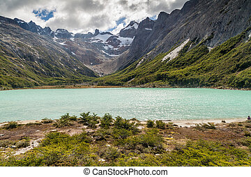 Laguna Esmeralda at Tierra del Fuego island - View of Laguna...
