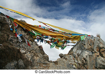Tibets flags - Pilgrims flags in Ganden monastery, Tibet,...