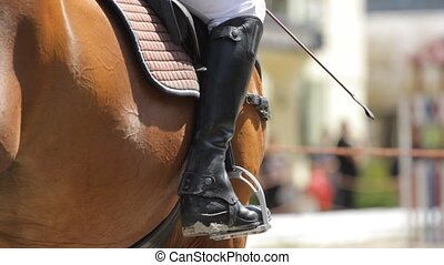 Jockey riding boot in the stirrup