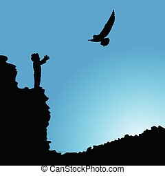 boy on cliff silhouette illustration with bird