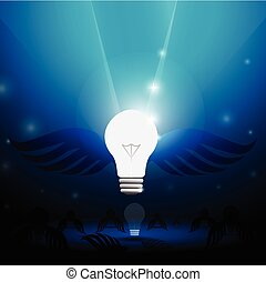 Flight bulb with wings in a blue sky. Stock illustration