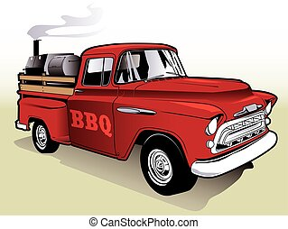 Barbecue Truck - Vintage Pickup Truck with Barbecue Grill...