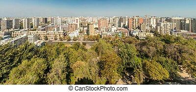 Aerial view of Santiago
