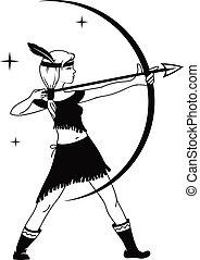 silhouette of girl hunter
