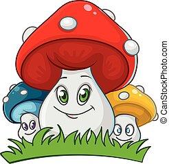 cute mushrooms family - cute smiling mushrooms family...