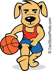 dog playing basketball, vector illustration